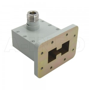 350DRWHCAN_F13 Right Angle High Power Double Ridge Waveguide to Coaxial Adapter 3.5-8.2GHz WRD350 to N Type Female