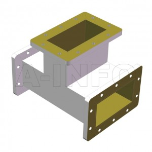 650WET WR650 Waveguide E-Plane Tee 1.12-1.7GHz with Three Rectangular Waveguide Interfaces