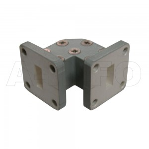 51WTEB-20-20_Cu WR51 Miter Bend Waveguide E-Plane 15-22GHz with Two Rectangular Waveguide Interfaces