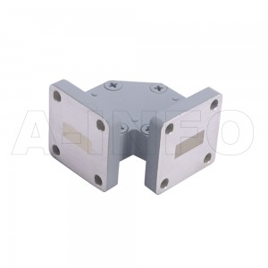 51WTHB-20-20_Cu WR51 Miter Bend Waveguide H-Plane 15-22GHz with Two Rectangular Waveguide Interfaces