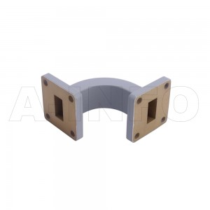 62WEB-40-40-20 WR62 Radius Bend Waveguide E-Plane 12.4-18GHz with Two Rectangular Waveguide Interfaces