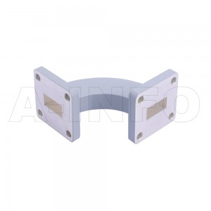 62WHB-40-40-25_Cu WR62 Radius Bend Waveguide H-Plane 12.4-18GHz with Two Rectangular Waveguide Interfaces