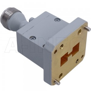 580DRWECAN_Cu Endlaunch Double Ridge Waveguide to Coaxial Adapter 5.8-16GHz WRD580 to N Type Female