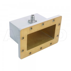 650WCAN Right Angle Rectangular Waveguide to Coaxial Adapter 1.12-1.7GHz WR650 to N Type Female