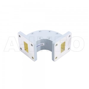 75WEB-40-40-20_Cu WR75 Radius Bend Waveguide E-Plane 10-15GHz with Two Rectangular Waveguide Interfaces