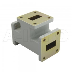 75WET WR75 Waveguide E-Plane Tee 10-15GHz with Three Rectangular Waveguide Interfaces