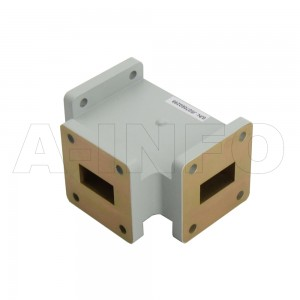 75WHT WR75 Waveguide H-Plane Tee 10-15GHz with Three Rectangular Waveguide Interfaces