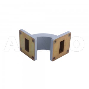 90WEB-40-40-20 WR75 Radius Bend Waveguide E-Plane 8.2-12.4GHz with Two Rectangular Waveguide Interfaces