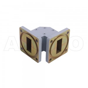 90WTEB-30-30_BMBM WR90 Miter Bend Waveguide E-Plane 8.2-12.4GHz with Two Rectangular Waveguide Interfaces