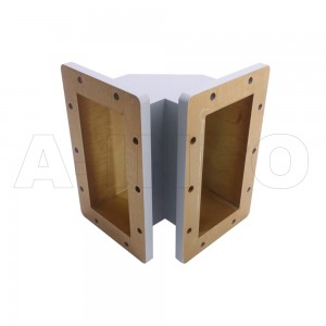 975WTEB-150-150 WR975 Miter Bend Waveguide E-Plane 0.75-1.12GHz with Two Rectangular Waveguide Interfaces
